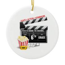 6th Grade Movie Clapboard Ceramic Ornament