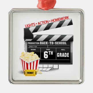6th Grade Movie Clapboard Metal Ornament