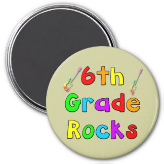 6th Grade Rocks 3 Inch Round Magnet