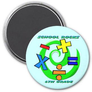 6th Grade Rocks - Math Symbols 3 Inch Round Magnet