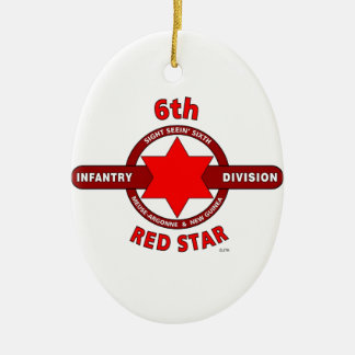 """6TH INFANTRY DIVISION """"RED STAR"""" WW I & WW II CHRISTMAS TREE ORNAMENTS"""