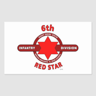 """6TH INFANTRY DIVISION """"RED STAR"""" WW I & WW II RECTANGLE STICKER"""