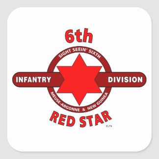 """6TH INFANTRY DIVISION """"RED STAR"""" WW I & WW II SQUARE STICKERS"""