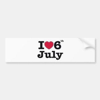 6th july my day of birthday bumper sticker