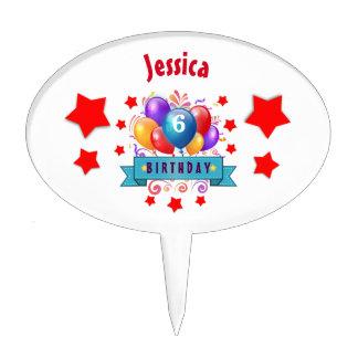 6th KIDS Birthday Festive Colorful Balloons B10CZ Cake Picks