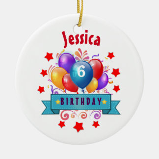6th KIDS Birthday Festive Colorful Balloons B10CZ Ceramic Ornament