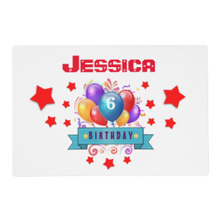 6th KIDS Birthday Festive Colorful Balloons B10CZ Placemat