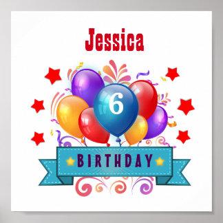 6th KIDS Birthday Festive Colorful Balloons B10CZ Poster