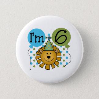 6th Lion Birthday Pinback Button