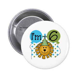6th Lion Birthday Pinback Button