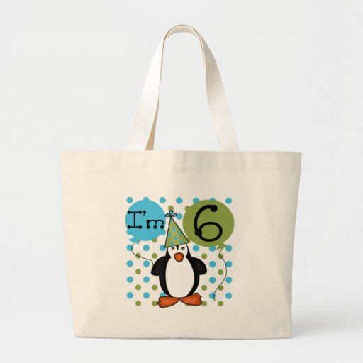 6th Penguin Birthday Tote Bags