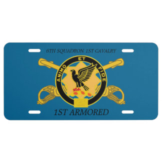 6TH SQDN 1ST CAVALRY 1ST ARMORED LICENSE PLATE