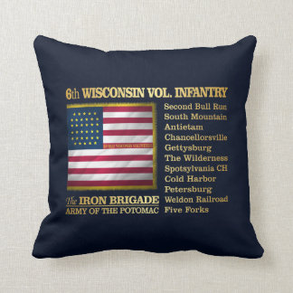 6th Wisconsin Volunteer Infantry (BH) Throw Pillow