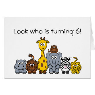 6to Animales de la selva del dibujo animado de la  Tarjeta