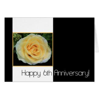 6to Aniversario de boda - rosa amarillo Felicitaciones