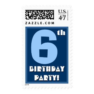 6to Azul intrépido de la fiesta de cumpleaños y Timbres Postales