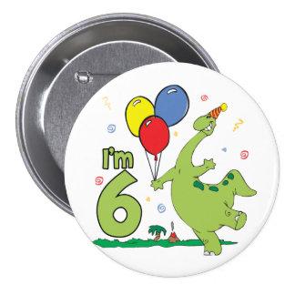 6to botón del cumpleaños de Dino Pins