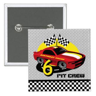 6to botón del cumpleaños del coche de carreras pins