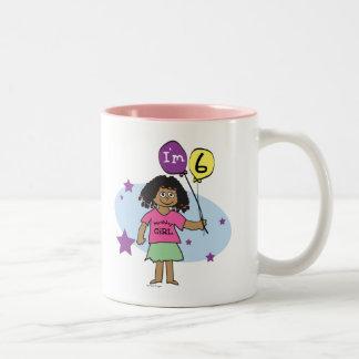 6to Chicas del cumpleaños Taza De Café De Dos Colores