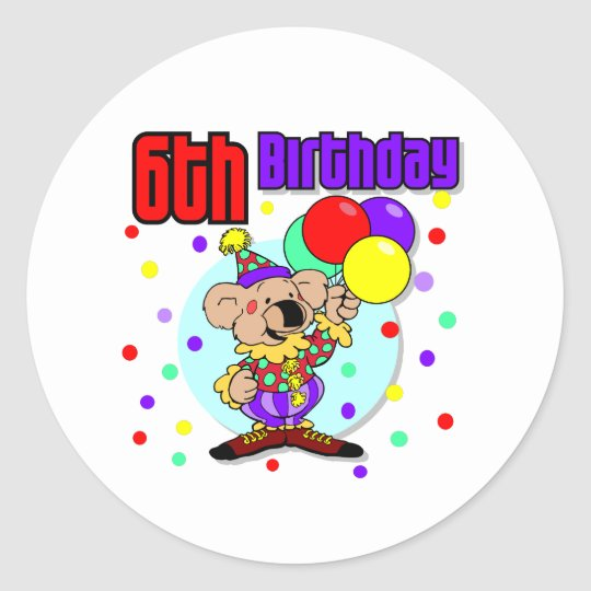 6to Cumpleaños de Australia del cumpleaños Pegatina Redonda