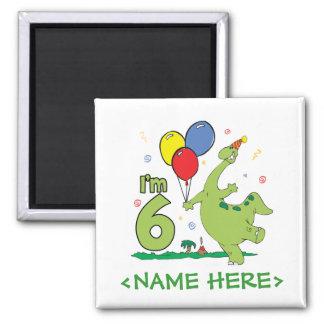 6to cumpleaños de Dino Imán Cuadrado
