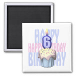 6to Cumpleaños de la magdalena del cumpleaños Imanes