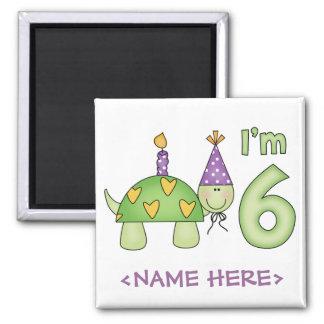 6to cumpleaños de la pequeña tortuga imán cuadrado