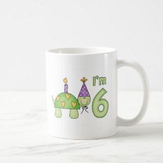 6to cumpleaños de la pequeña tortuga taza de café