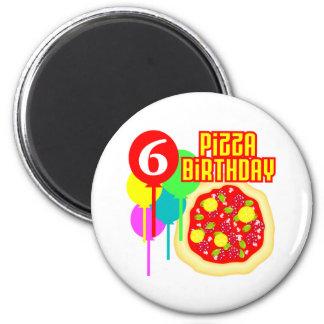 6to Cumpleaños de la pizza del cumpleaños Imán Redondo 5 Cm