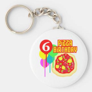 6to Cumpleaños de la pizza del cumpleaños Llavero Redondo Tipo Pin