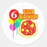 6to Cumpleaños de la pizza del cumpleaños Etiqueta Redonda