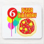 6to Cumpleaños de la pizza del cumpleaños Tapete De Ratones
