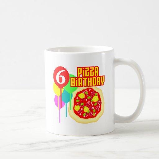6to Cumpleaños de la pizza del cumpleaños Tazas De Café