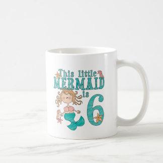 6to cumpleaños de la sirena taza de café