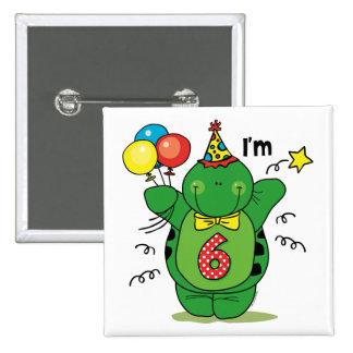 6to cumpleaños de la tortuga feliz pin