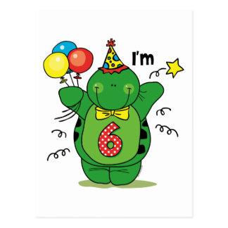 6to cumpleaños de la tortuga feliz tarjeta postal