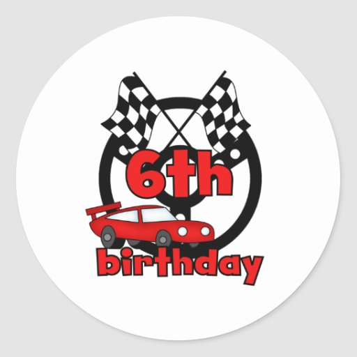 6to cumpleaños de las carreras de coches pegatina redonda