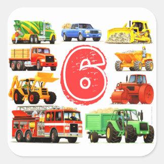 6to cumpleaños de los camiones grandes pegatina cuadrada