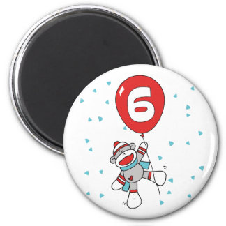 6to cumpleaños de Sockmonkey Imán Redondo 5 Cm