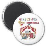 6to cumpleaños del circo imán de frigorifico