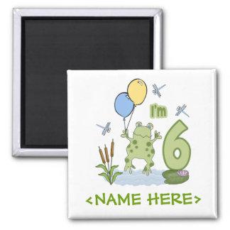 6to cumpleaños del Froggy Imán Cuadrado
