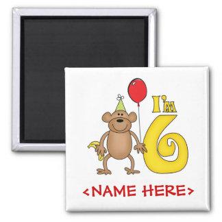 6to cumpleaños del mono divertido imán cuadrado