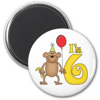 6to cumpleaños del mono divertido imán redondo 5 cm
