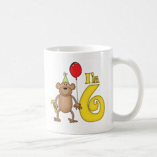6to cumpleaños del mono divertido taza de café