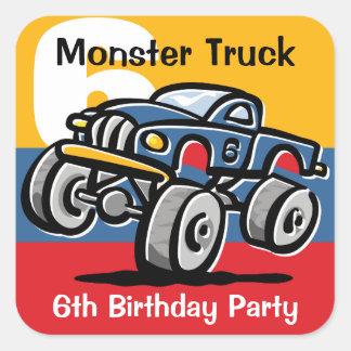 6to cumpleaños del monster truck calcomania cuadradas personalizada