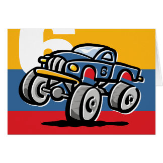 6to cumpleaños del monster truck tarjeta de felicitación