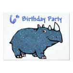 6to cumpleaños del rinoceronte azul invitaciones personales