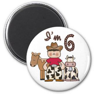 6to cumpleaños del vaquero imán redondo 5 cm