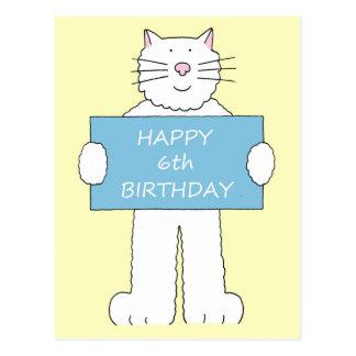 6to cumpleaños feliz, gato mullido blanco postal