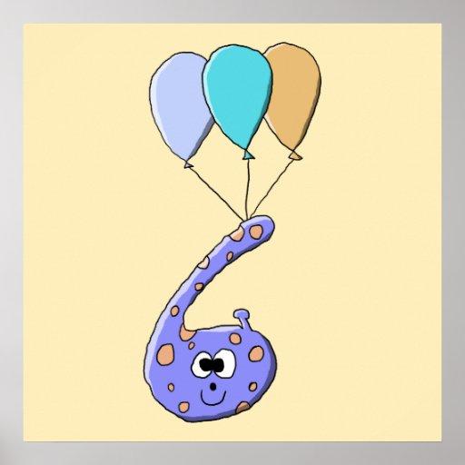 6to Cumpleaños, historieta púrpura del monstruo de Impresiones